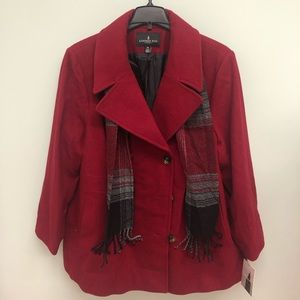 London Fog Peacoat with Scarf (PM259)